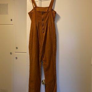 Orange corduroy overalls
